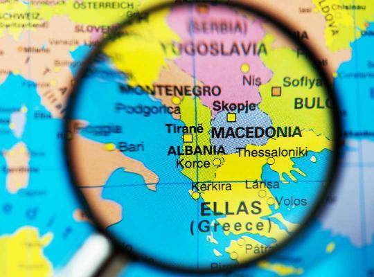 albanie macedonie map