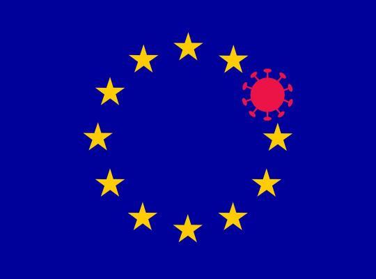 corona-symbool vervangt een van de sterren in de vlag van de EU - Europese Unie