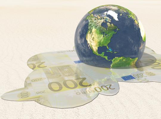 Wereldbol smelt tot geld