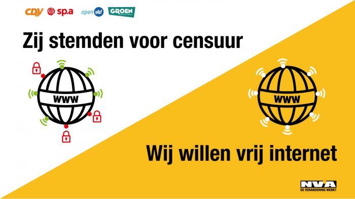 CD&V, sp.a, Open Vld en Groen openen de deur naar internetcensuur. De N-VA stemde tegen.